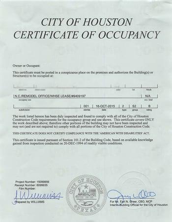 Certificate of Occupancy S-2